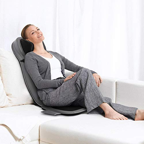 INTEY Siège de Massage au Cou et au Dos avec Chaleur, Massage par Pétrissage ou par Rouleau au Dos Complet, Coussin de Siège de Massage avec Réglage en Hauteur