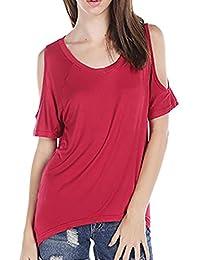 FEITONG Mujeres atractivas del verano V-cuello del hombro de la camiseta de manga corta ocasional del estiramiento de la camiseta sólida Tops