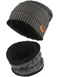 Magic zona Hombres de invierno tejer gorro y bufanda de lana cálido Slouchy  Beanie Sombrero 9c04e879f7b