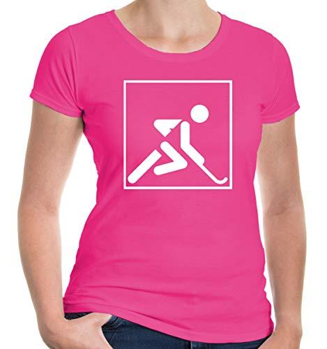 buXsbaum® Damen Kurzarm Girlie T-Shirt bedruckt Feldhockey Piktogramm | field hockey Fanshirt | M fuchsia-white Rosa