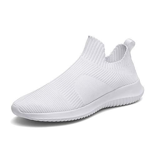 Casual Suede Shoe Sportschuhe für Männer Flyknit Sportschuhe Slip On Style Mesh Tuch Material Atmungsaktiv Runde Zehe Herren Sneaker (Color : Weiß, Größe : 46 EU) - Mesh-suede Cap