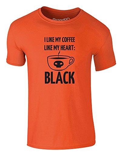 Brand88 - I Like My Coffee Like My Heart: Black, Erwachsene Gedrucktes T-Shirt Orange/Schwarz