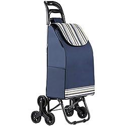 TOPVORK 38L Poussette de Marché, Pliable Chariot de Courses, Etanche Caddie à 6 Roues Escalier (Bleu) (New)