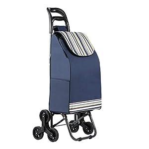mfavour Einkaufstrolley Stabiler Einkaufswagen Treppensteiger Einkaufstrolleys mit 6 Rädern 38 L Kapazität 30KG Tragfähigkeit klappbar Wasserdicht blau