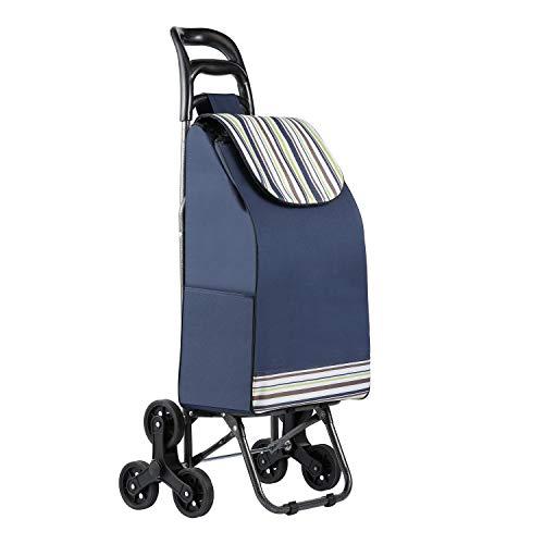 TOPVORK Einkaufswagen Tri-falt Einkaufstrolley Treppensteiger Einkaufsroller mit 6 Rädern 38 L Kapazität 30KG Tragfähigkeit Faltbare Wasserdicht blau