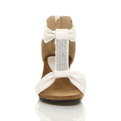 Donna tacco a zeppa media basso strass t-bar festa piattaforma sandali taglia Bianco