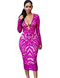 c9b60cdb0dcad2 Betty-Boutique Deep Fuchsia Lace Nude Low Neckline Midi Dress Size 8-10