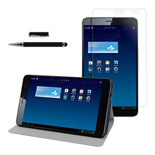 kwmobile 3in1 Set: Hülle für Huawei MediaPad X1 7.0 mit Ständer - Kunstleder Tablet Case Cover Tasche Schutzhülle in Schwarz + Folie, kristallklar + Stylus, schwarz