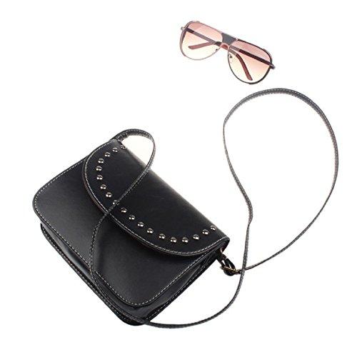 Susenstone Messenger Bag borsa delle donne dei sacchetti di spalla Leather Tote nero