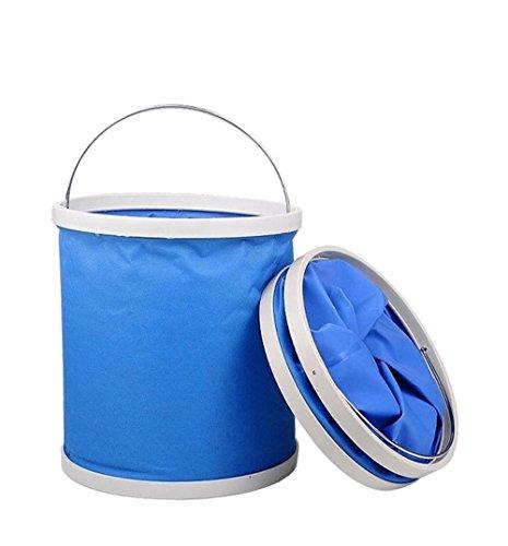 Preisvergleich Produktbild XFAY Falteimer 9 Liter, Blau, bewegliches faltbares Waschbecken Wassereimer für kampierende wandernde Fischen