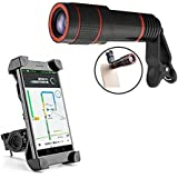 Universal 12X Zoom Mobile Phone Telescope Lens With Bike Bicycle Motorcycle Mobile Cell Phone Holder Mount Bracket Handlebar Bike Mount Holder Stand For Smart Mobile Phones,iPhone Devices 360 Degrees Rotating Compatible For All Smartphones. -by Exosis