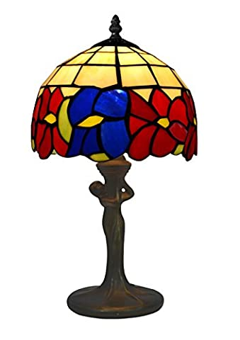 Tiffany Bedside Table Lamp Art Deco Stained Glass Brass Base Baroque Style Flower Shape, Classic Bedroom Lamps Tiffany Indoor Use Vintage Style (14 inch, E14)