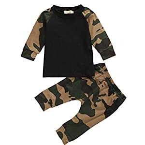 Little Boys Short Sleeve Cotton T-shirt and Camouflage Pants Outfit