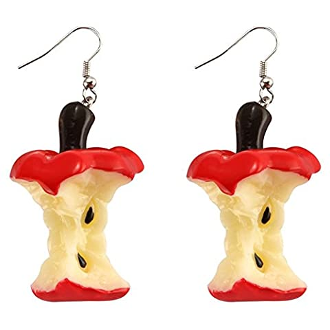 Funky Resin Apple Core Design Drop Statement Earrings - Kitsch
