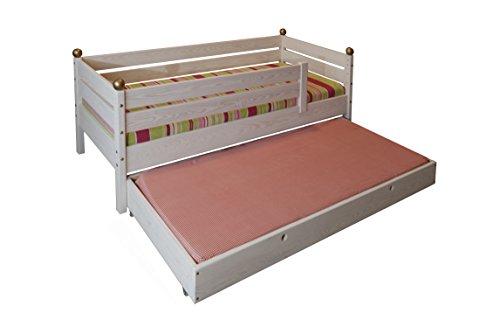 *Kinderbett mit Rausfallschutz, Rost und Gästebett 70x160cm, Massivholz aus nachhaltiger Waldwirtschaft, geölt weiß*