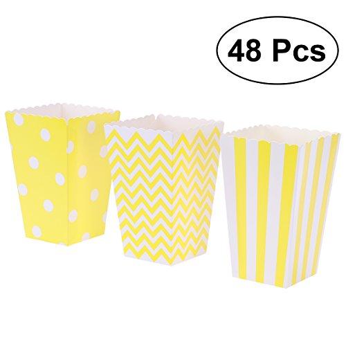 Popcorn Tüten,Popcorn-Boxen,48 Stück Pappe Süßigkeiten Container für Karneval Party Film, gelb