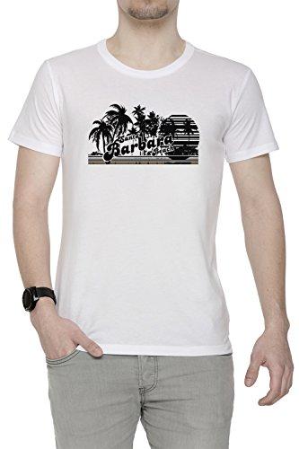 Santa Barbara Beach Uomo T-shirt Bianco Cotone Girocollo Maniche Corte White Men's T-shirt
