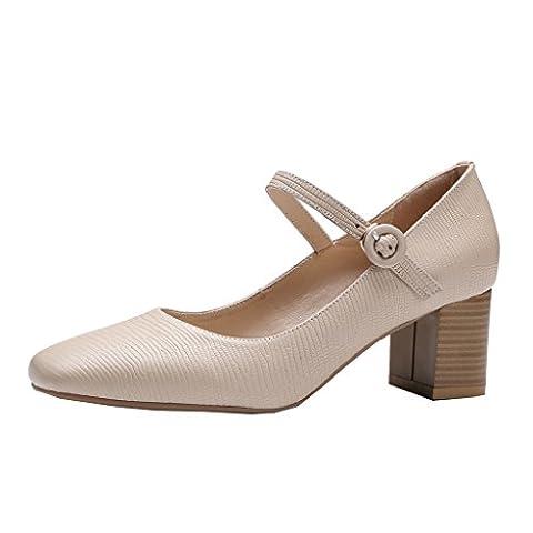 ENMAYER Femmes Beige Mary Jane Bretelles en Cuir Ankle Strap Heel Office Lady Pumps Court Shoes EU 38