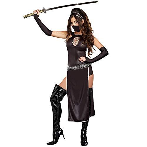 stüm Mädchen, Halloween Kostüm Krieger Anzug weibliche Ninja Kostüm weibliche Mörder schwarzes Gesicht Gladiator Spiel Anzug Cosplay Anzug ()