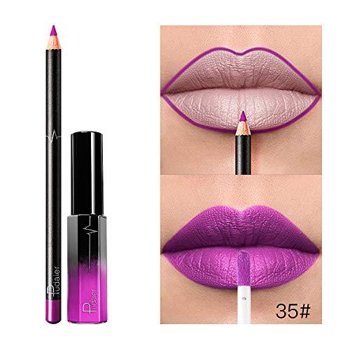 Gaddrt 36 Colors Lipstick with Lip Liner, Long Lasting Waterproof Matte Liquid Gloss Cosmetics Set (II)