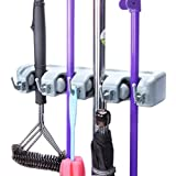 RUDRAYA Wall Mounted Hanger Organizer 4 Positions Broom and Mop Holder Stand, with 5 Hooks and Holds Up to 9 Tools ( 10 inch, Multicolour )