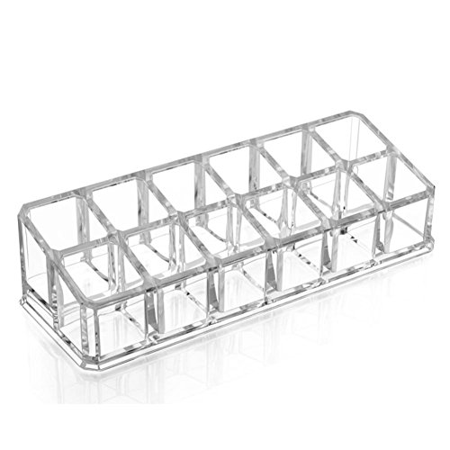 anne -kee Clear Acrylic Desk Cosmetic Lipstick Holder Make up Nail Varnish Organizer 12 case