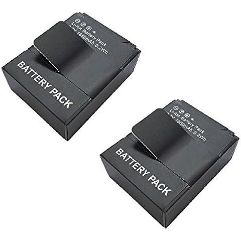 SMARTEX | 2 Baterías recargable por GoPro Hero 3 3+ Li-Po (1600mAh) compatible con GoPro HD Hero 3 AHDBT-201 - AHDBT-301 | HERO3 Black Edition - Black Edition-Surf - Silver Edition - White Edition