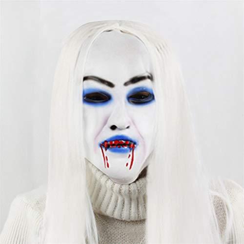 Joker Gruselige Kostüm - bloatboy  Scary Braut Weißem Haar Maske - Halloween Cosplay Maske Kostüm für Erwachsene Party Dekoration Gruselig Requisiten (C)