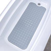 """El tapete de baño extralargo SlipX Solutions agrega una tracción antideslizante a las tinas y duchas: ¡30% más que las esteras estándar! (200 Ventosas, 39 """"de largo - Cobertura extendida, lavable a máquina, gris)"""