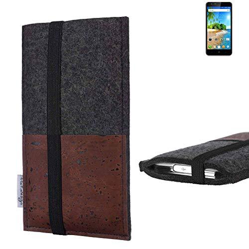flat.design Handy Hülle Sintra für Doogee Y6C Handytasche Filz Tasche Schutz Kartenfach Case braun Kork