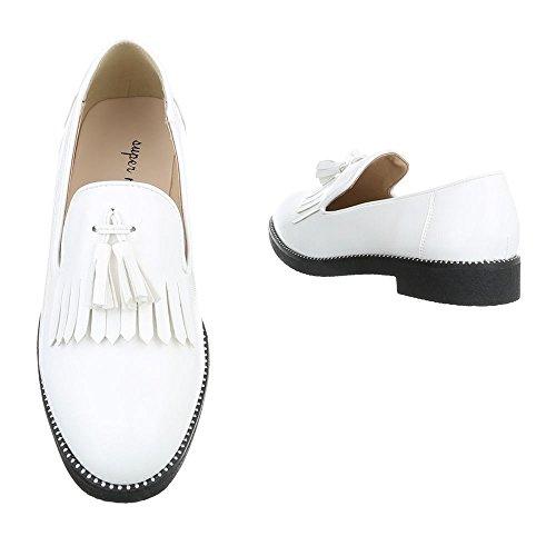 Slipper Damenschuhe Low-Top Blockabsatz Moderne Ital-Design Halbschuhe Weiß