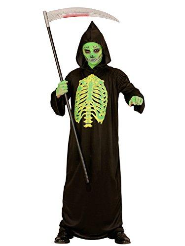 Unheimlicher Sensenmann Halloween Kinderkostüm Tod schwarz-grün 128/140 (8-10 (Halloween Grüne Sensenmann Kostüm)