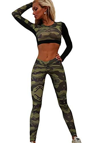Jogginganzug Damen Crop Und Top Hose Teilig 2 Set Mode Marken Elegante Vintage Mode Camouflage Trainingsanzug Langarm Rundhals Bauchfreie Oberteile Sweatpants ( Color : Camouflage , Size : XS )