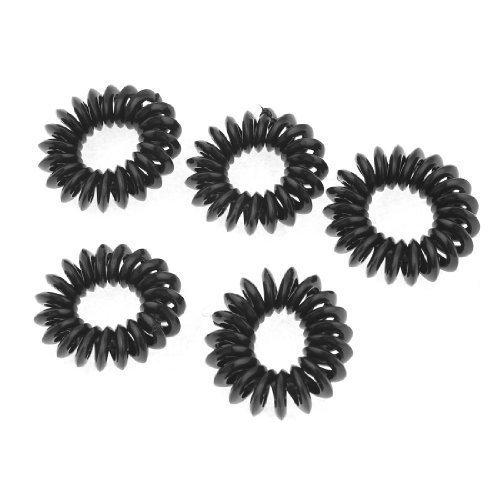 Femme 5 Pcs Noir Élastique Cercle Cheveux Cravate Queue De Cheval Support Bande