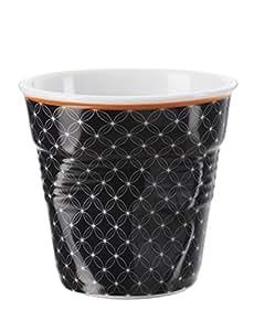 Revol 647650 Gobelet froissés Espresso Porcelaine Livia 8cl, Noir, 20,8 x 14,6 x 7,4 cm , lot de 6
