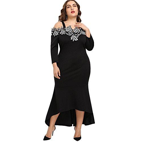 Elegante abito da sirena sexy abiti da cerimonia senza spalline lungo ricamo floreale vestito da festa con pizzo estate gonna taglie forti nero