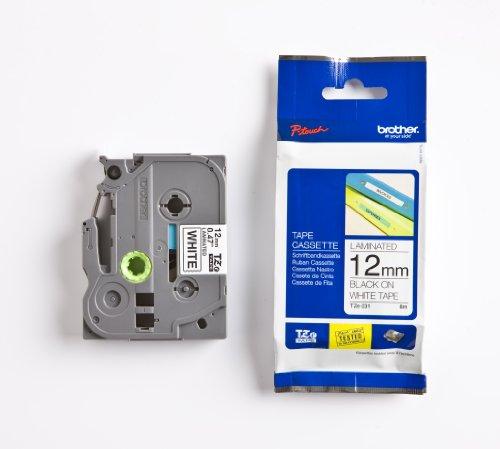 Brother Original P-touch Schriftband TZe-231 12mm, schwarz auf weiß (u.a. für Brother PT-H100LB/R, -H105, -E100/VP, -D200/BW/VP, -D210/VP) laminiert