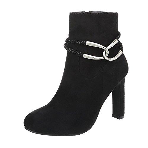 High Heel Stiefeletten Damenschuhe High Heel Stiefeletten Pfennig-/Stilettoabsatz High Heels Reißverschluss Ital-Design Stiefeletten Schwarz