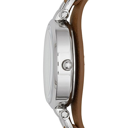 Fossil Georgia Damenuhr silber / Analoge Vintage Armbanduhr im Boyfriend-Stil - großes Ziffernblatt & schmales, braunes Lederband - 3