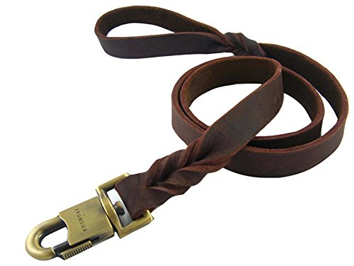 Rantow Durable Leder Haustier Hundeleine Seil für mittelgroße Hunde oder große Hunde 1 Zoll breit und 3 bis 5 Fuß langen Schöne Geflochtene Handgemachte Brown Leder Hundeleine (5 Fuß)