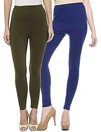 Sakhi Sang Leggings Pack of 2 : Olive Green & Royal Blue