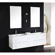 OimexGmbH Design Doppel Badmöbel Set U201eSerpia Dualu201c Weiß Waschtisch Set  150cm Inkl. 2