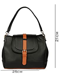 Deniza Women Sling Bag Black And Tan Color