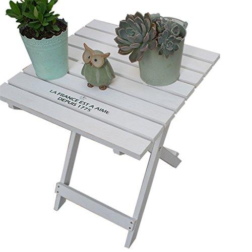 Rahmen Global Hölzerne faltende Blumen-Stand-Retro- Tabelle Passend für Garten-Blumentopf-Anlagen im Freien (Farbe : Weiß) (Im Tabelle Freien Anlage)