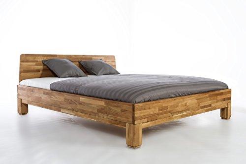 Holzwerk letto matrimoniale in legno massiccio, mod. roma, in legno di quercia massiccio, wildeiche, 160 x 200