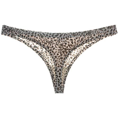 8e0bf19af851 Tangas sexys Mujer, MINXINWY Tanga Sexy diversión Leopardo Hielo Seda Seda  Cintura Baja Tanga de