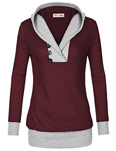 Flat Front Stretch-leggings (Timeson Damen Kapuzenpullover Gr. M, #31 Red)