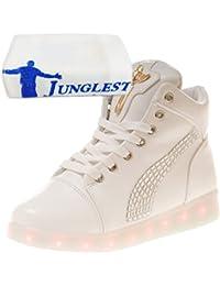 (Presente:pequeña toalla)Negro EU 43, de LED Zapatillas Light moda Unisex Mujeres 7 High JUNGLEST® Blanco color