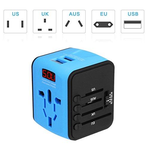 Universal Adapter für 150 Länder, 4 in 1 Reisestecker Weltweit, mit Dual USB, für Australien Brasilien England Dänemark USA Europa Asien, All-in-one, mit LED-Betriebsanzeige Überspannungsschutz (Blau)