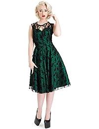 Vestido esmeralda acampanado al estilo Rockabilly de los 50's de Voodoo Vixen Penny